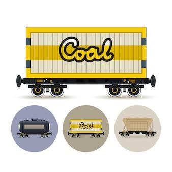 Zestaw ikon różnych typów wagonów towarowych
