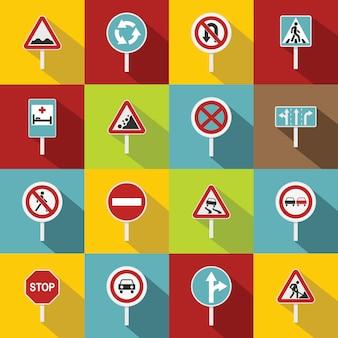 Zestaw ikon różnych znaków drogowych, płaski