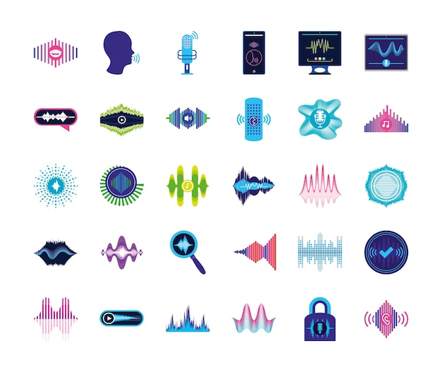 Zestaw ikon rozpoznawania głosu