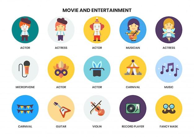 Zestaw ikon rozrywki dla biznesu