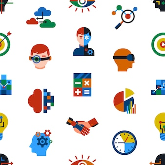 Zestaw ikon rozszerzonej analityki i technologii innowacji