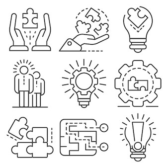 Zestaw ikon rozwiązania. zarys zestaw ikon wektorowych rozwiązania