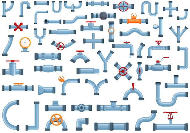 Zestaw ikon rur. kreskówka zestaw ikon rury do projektowania stron internetowych