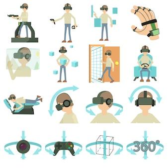 Zestaw ikon rzeczywistości wirtualnej