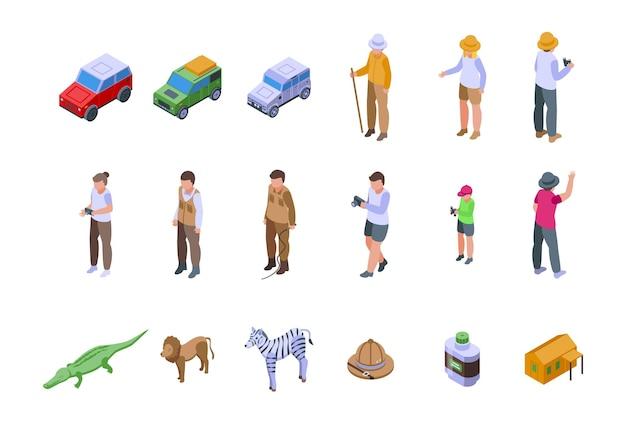 Zestaw ikon safari jeepem. izometryczny zestaw ikon wektorowych jeep safari do projektowania stron internetowych na białym tle