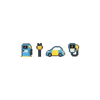 Zestaw ikon samochód elektryczny kreskówka pikseli sztuki.