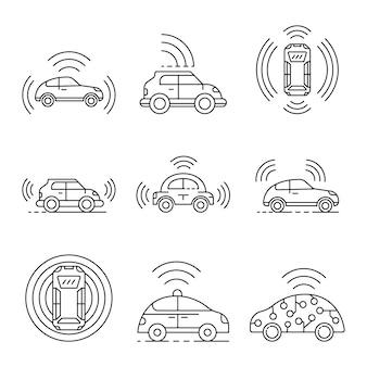 Zestaw ikon samochodów bez sterownika. zarys zestaw ikon wektorowych samochodów bez kierowcy