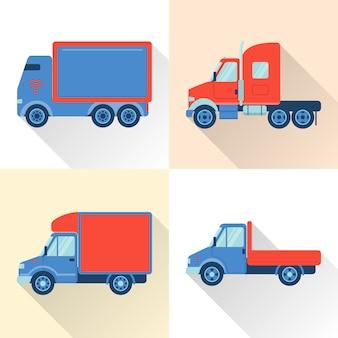 Zestaw ikon samochodów ciężarowych w stylu płaski