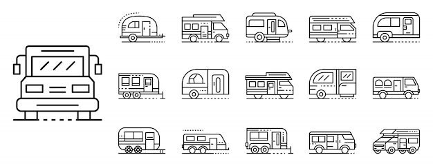 Zestaw ikon samochodów kempingowych, styl konspektu