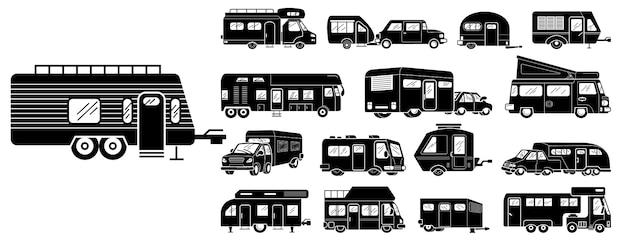 Zestaw ikon samochodów kempingowych