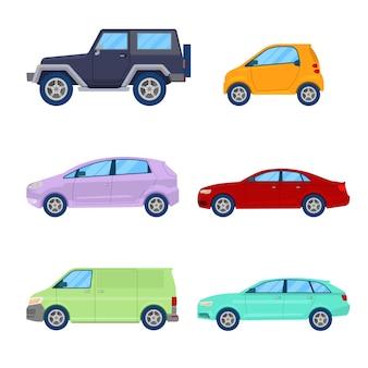 Zestaw ikon samochodów miasta z sedan, van i pojazd terenowy.