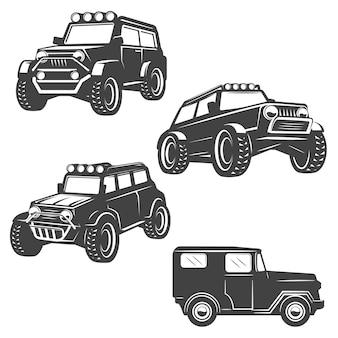 Zestaw ikon samochodów off road na białym tle. obrazy, etykieta, godło. ilustracja.