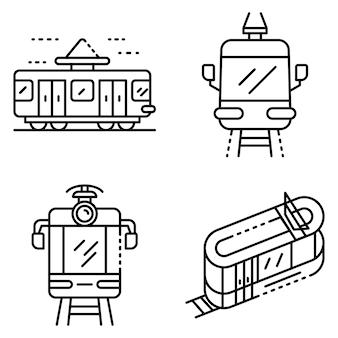Zestaw ikon samochodów tramwajowych. zarys zestaw ikon wektorowych tramwajów