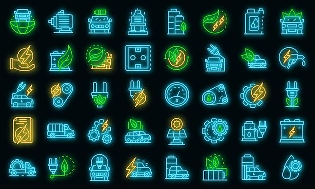 Zestaw ikon samochodu hybrydowego. zarys zestaw ikon wektorowych samochodów hybrydowych w kolorze neonowym na czarno
