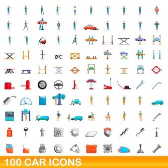 Zestaw ikon samochodu. ilustracja kreskówka ikony samochodu na białym tle