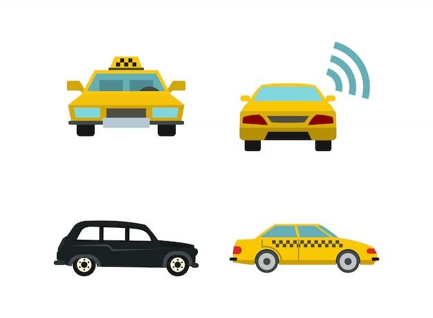 Zestaw ikon samochodu taxi. płaski zestaw taxi samochód wektor zbiory ikon na białym tle