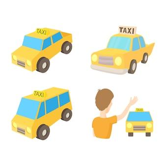 Zestaw ikon samochodu taxi