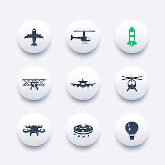 Zestaw ikon samolotów, lotnictwo, transport lotniczy, samolot, helikopter, dron, dwupłatowiec, statek kosmiczny obcych, balon