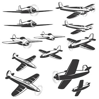 Zestaw ikon samolotów na białym tle. elementy, godło, znak. ilustracja.