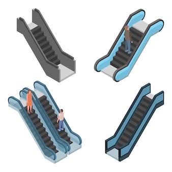 Zestaw ikon schodów ruchomych. izometryczny zestaw ikon wektorowych schodów ruchomych do projektowania stron internetowych na białym tle