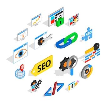 Zestaw ikon seo, izometryczny styl 3d