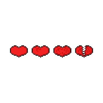 Zestaw ikon serca pikseli sztuki gry.