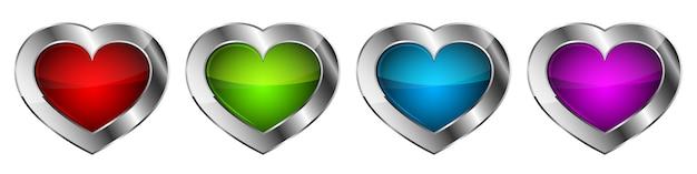 Zestaw ikon serca. serca w chromowanej ramie.