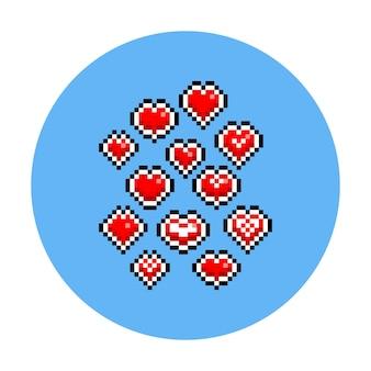 Zestaw ikon serca valentine kreskówka pikseli sztuki.