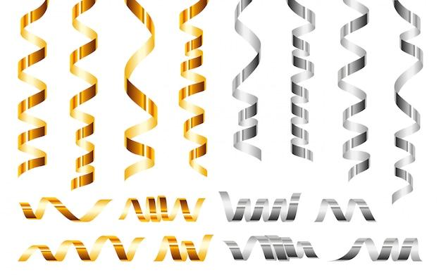 Zestaw ikon serpentyn, realistyczny styl