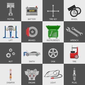 Zestaw ikon serwis samochodowy z mechanikami auto szczegóły instrumentów