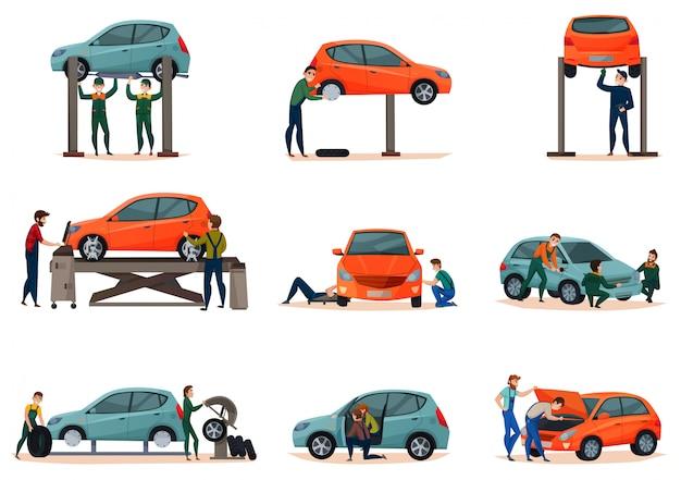 Zestaw ikon serwis samochodowy