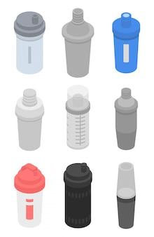 Zestaw ikon shaker, izometryczny styl
