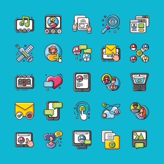 Zestaw ikon sieci społecznej na niebieskim ilustracji projektu