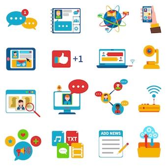 Zestaw ikon sieci społecznej