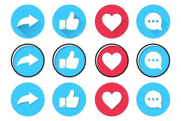 Zestaw ikon sieci społecznościowych w płaskiej konstrukcji. udostępniaj, polub, serduszko i komentuj