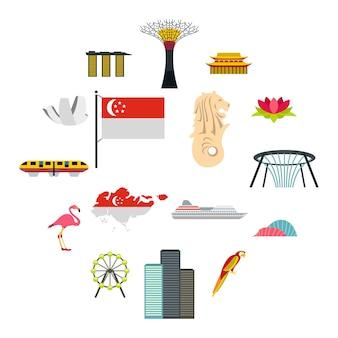 Zestaw ikon singapuru, płaski