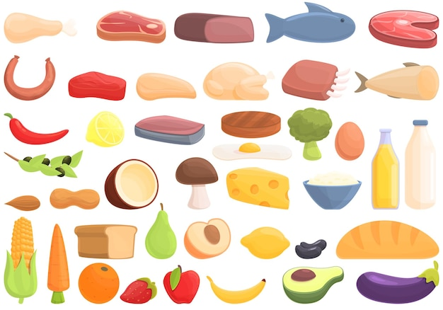 Zestaw ikon składników odżywczych białka. kreskówka zestaw ikon wektorowych składników odżywczych białka do projektowania stron internetowych