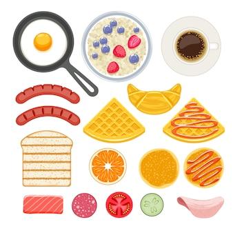Zestaw ikon składników śniadania.