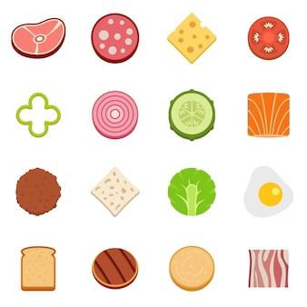 Zestaw ikon składników żywności w plasterkach