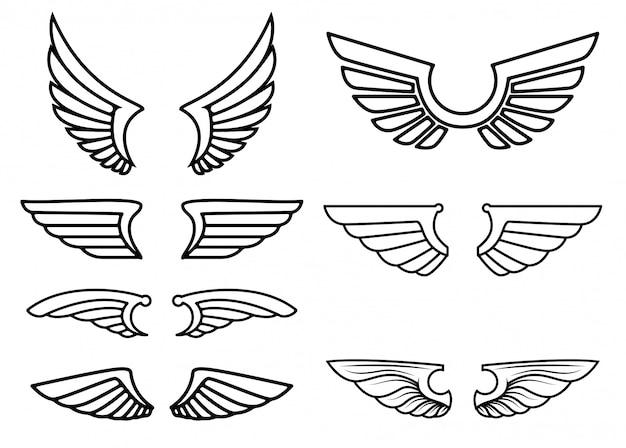 Zestaw ikon skrzydeł. elementy logo, etykiety, godła, znaku. ilustracja