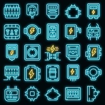 Zestaw ikon skrzynki przyłączeniowej wektor neon