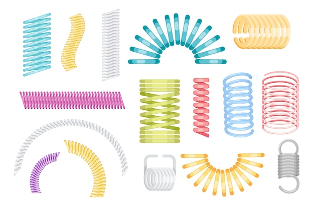 Zestaw ikon slinky cewki, kolorowe plastikowe lub metalowe sprężyny na białym tle. zakrzywione druty, zabawki dla dziecka