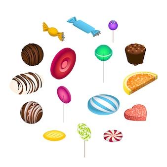 Zestaw ikon słodkich cukierków, izometryczny styl