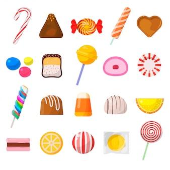 Zestaw ikon słodkich cukierków