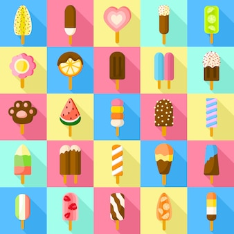 Zestaw ikon słodkich popsicle. płaski zestaw słodki wektor popsicle