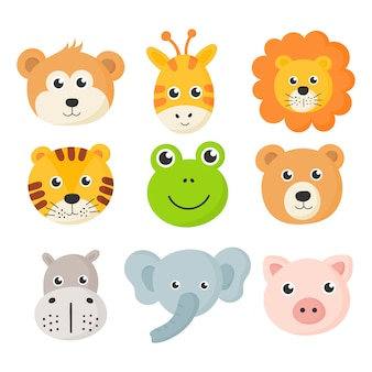 Zestaw ikon słodkie twarze zwierząt na białym tle.