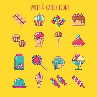 Zestaw ikon słodycze i słodycze