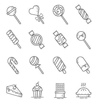 Zestaw ikon słodyczy i cukierków w stylu konspektu
