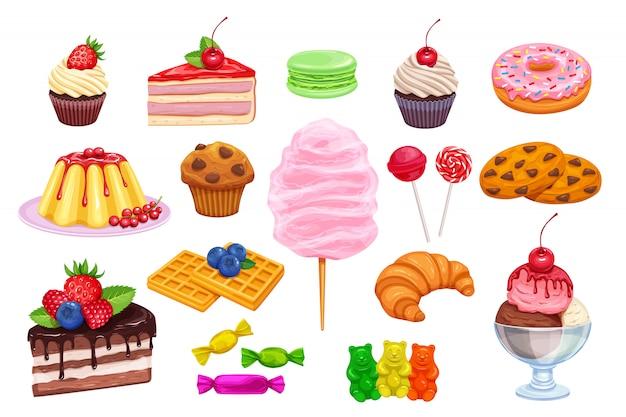 Zestaw ikon słodyczy i słodyczy