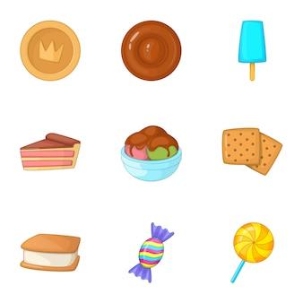Zestaw ikon słodyczy, stylu cartoon